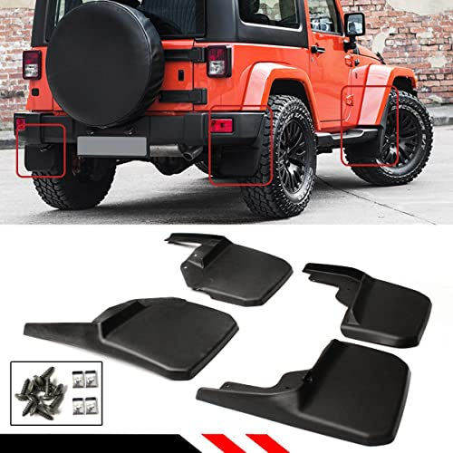 NEW 4pcs Front and Rear Splash Guard Mud Flaps for Jeep Wrangler JK 2007-2016