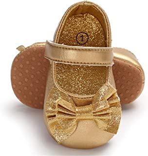 Infant Baby Girls Mary Jane Flats Non-Slip Soft Soled Toddler First Walkers Crib Shoes Princess Dress Shoes