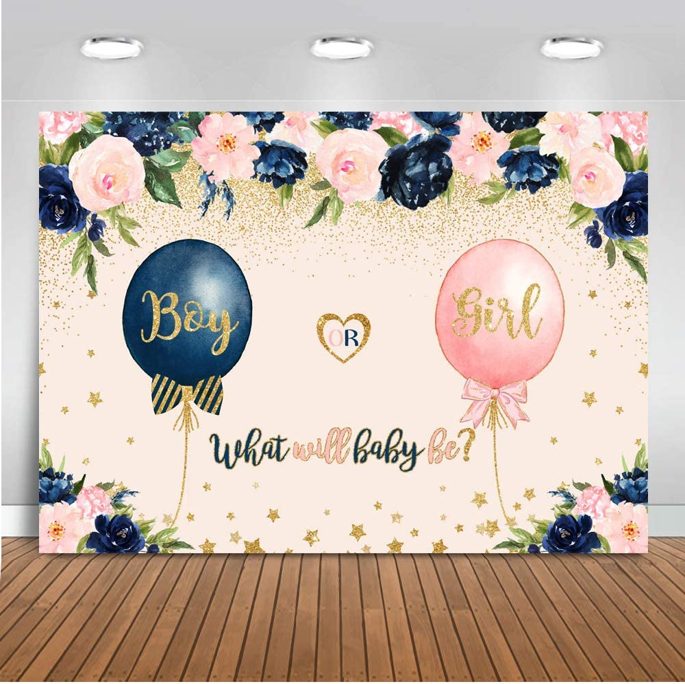 Mocsicka Gender Directly managed store Reveal Backdrop 5x3ft Pink Navy Blue Sales results No. 1 Ballo Blush