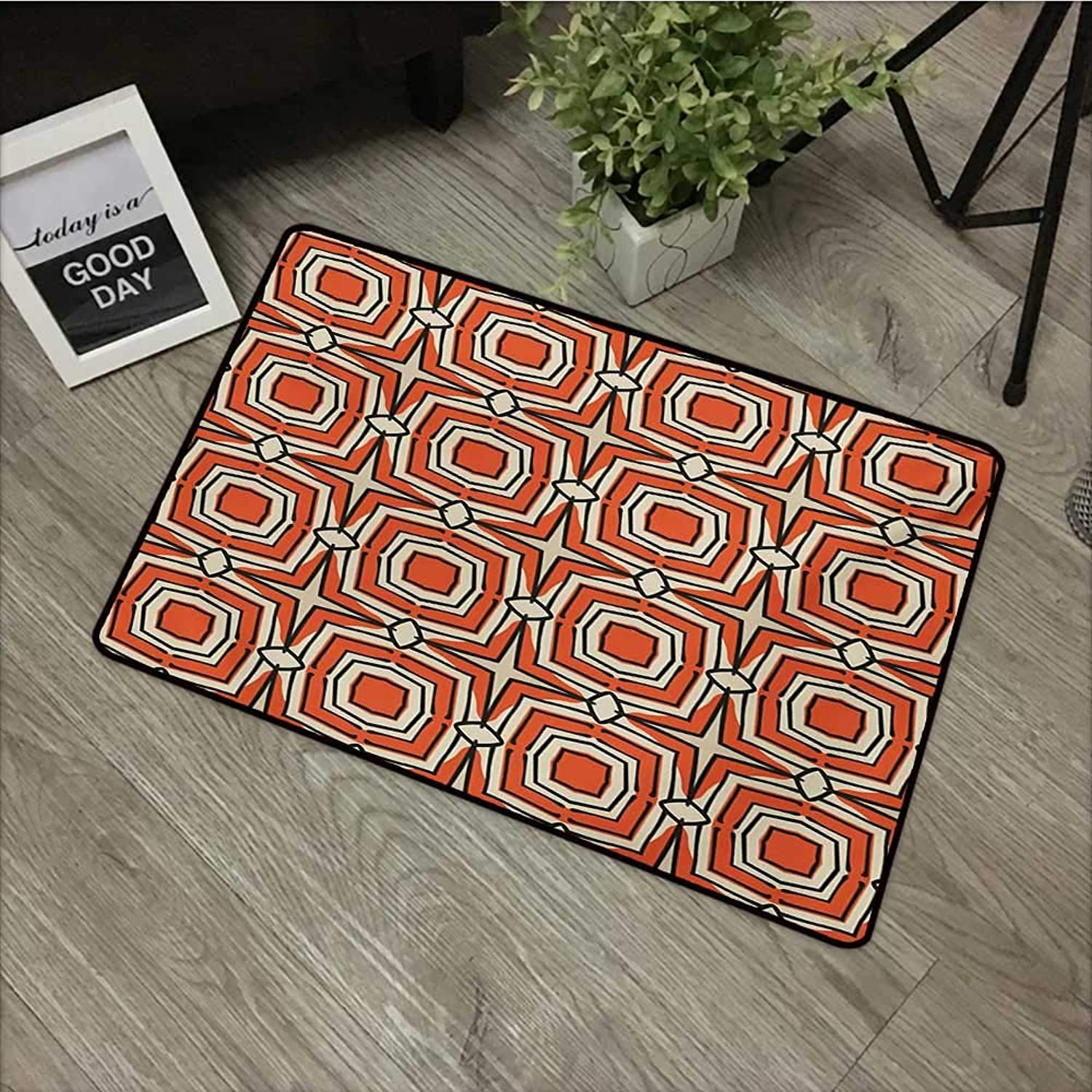 Bathroom Anti-Slip Door mat W35 x L59 INCH Geometric,Squares and Rhombuses with Bullseye Pattern Abstract Warm colord Shapes,Burnt Sienna Beige with Non-Slip Backing Door Mat Carpet