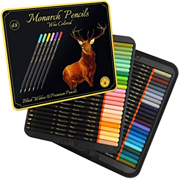 Black Widow Monarch Coloured Pencils For Adults - 48 Coloring Pencils With Smooth Pigments - Best Color Pencil Set For Adult Coloring Books And Drawing.