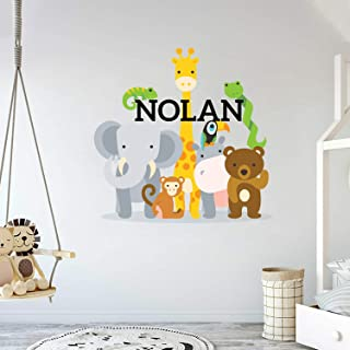 """Personalized Name Jungle Animals Baby Boy Nursery Wall Decals(MM104) - Bright Cute and Unique Removable Peel & Stick Stickers for Bedroom and Home -Mural Children Wall Decal 32"""" x 31"""""""