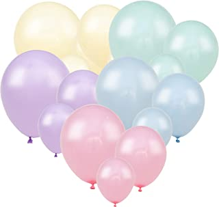 100 Pastel Balloons – Small and Large Assorted Balloons Size Bulk Pack. Blue, Purple, Yellow, Green and Pastel Pink Balloons for Unicorn, Easter, Matte, or Macaron - Rainbow Party Supplies Decorations