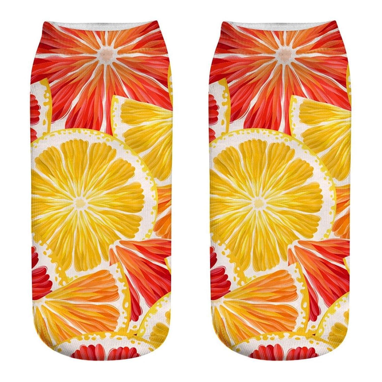 BAO8 ソックス 靴下 レディース くるぶし 果物柄 3Dプリント マルチカラー おしゃれ プレゼント人気 可愛い 素敵 普段着 お出かけ用