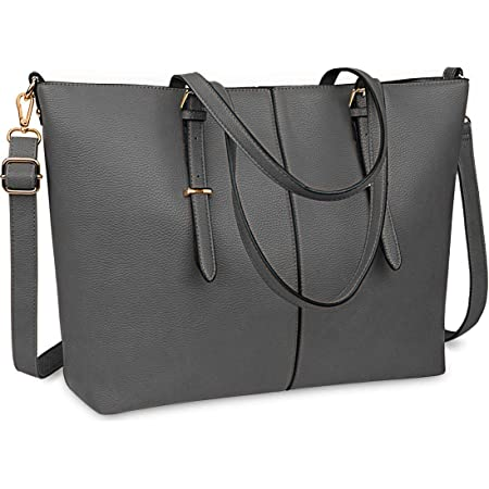 NUBILY Laptop Damen Handtasche 15,6 Zoll Shopper Handtasche Grau Elegant Leder Taschen Große Leichte Elegant Stilvolle Frauen Handtasche für Business/Schule/Einkauf