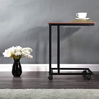 Vapeart Side Table, Sofa Couch Side Table for Coffee Laptop Tablet, Wood Look Slide Under Furniture for Living Room with Metal Frame&Wheels