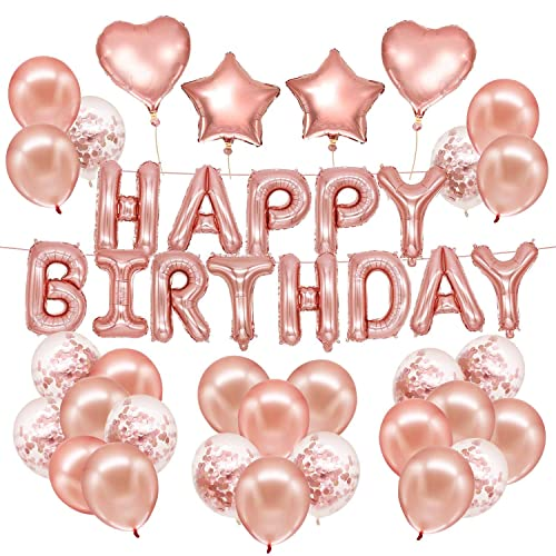 HusDow 70pcs Happy Birthday Decorations Rose Gold Banner 10pcs Confetti Balloons 40pcs