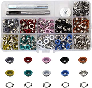 300 Pieces Grommets Kit Metal Eyelets Shoes Clothes Crafts, 10 Colors (6mm)