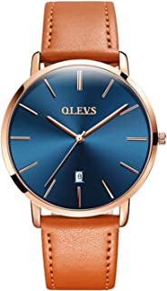 OLEVS Mens Watch - Ultra Thin Fashionable Minimalist - Stainless Steel Bezel Buckle - Breathable Leather Strap - Casual Japanese Quartz Watches for Men