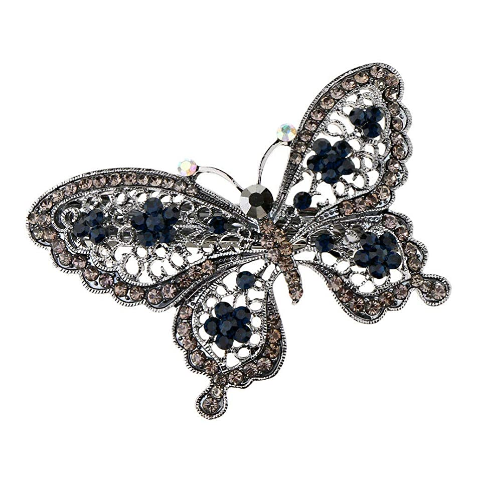Women Rhinestone Butterfly Hair Clip Barrette Girl Kids Hair Pin Clamp Grip (Color - Gray)