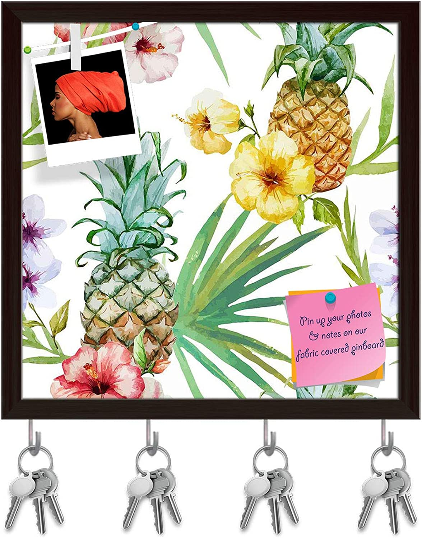Artzfolio Pineapples & Hibiscus Key Holder Hooks   Notice Pin Board   Dark Brown Frame 20 X 20Inch