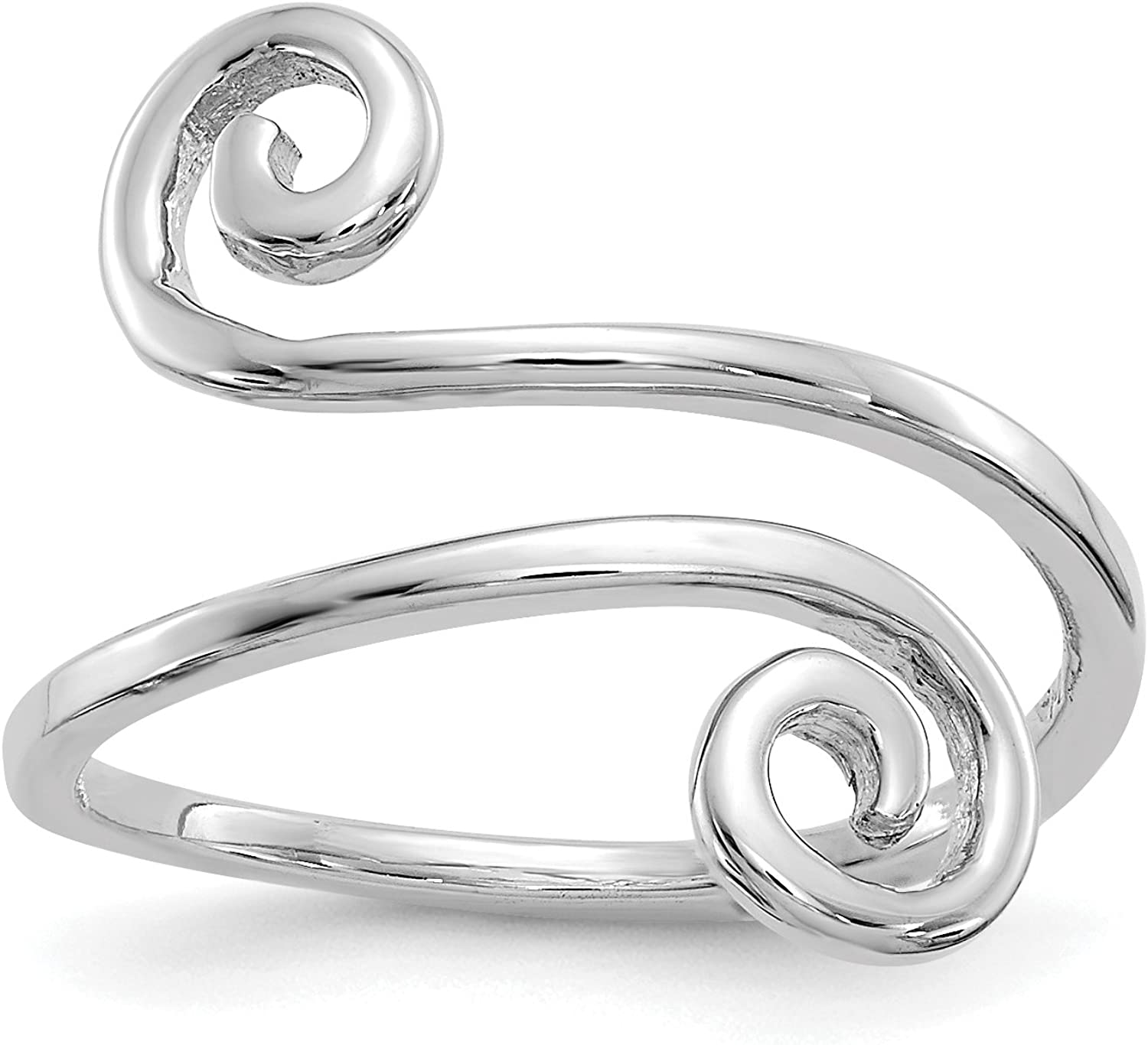 14k White Gold Toe Ring with Swirl Design Ends