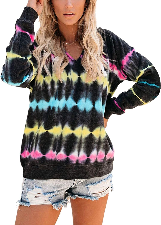 Blooming Jelly Women's Tie Dye Hoodie V Neck Long Sleeve Casual Loose Pullover Sweatshirt