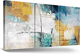 RAMEER 3 Piece Canvas Wall Art Yellow Blue Teal Grey Modern Abstract Artwork Painting Prints Colorful turquoise Décor for ...