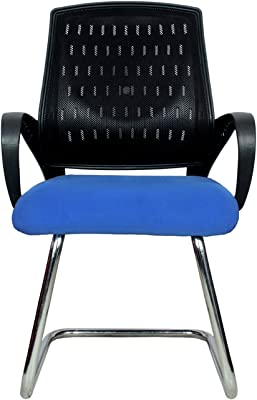 Rajpura Smart Medium Back Visitor Chair in Blue Fabric and Black mesh/net Back Office Executive Chair