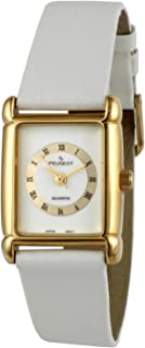Peugeot Vintage 14K Gold Plated Roman Numeral White Leather Watch 380-14