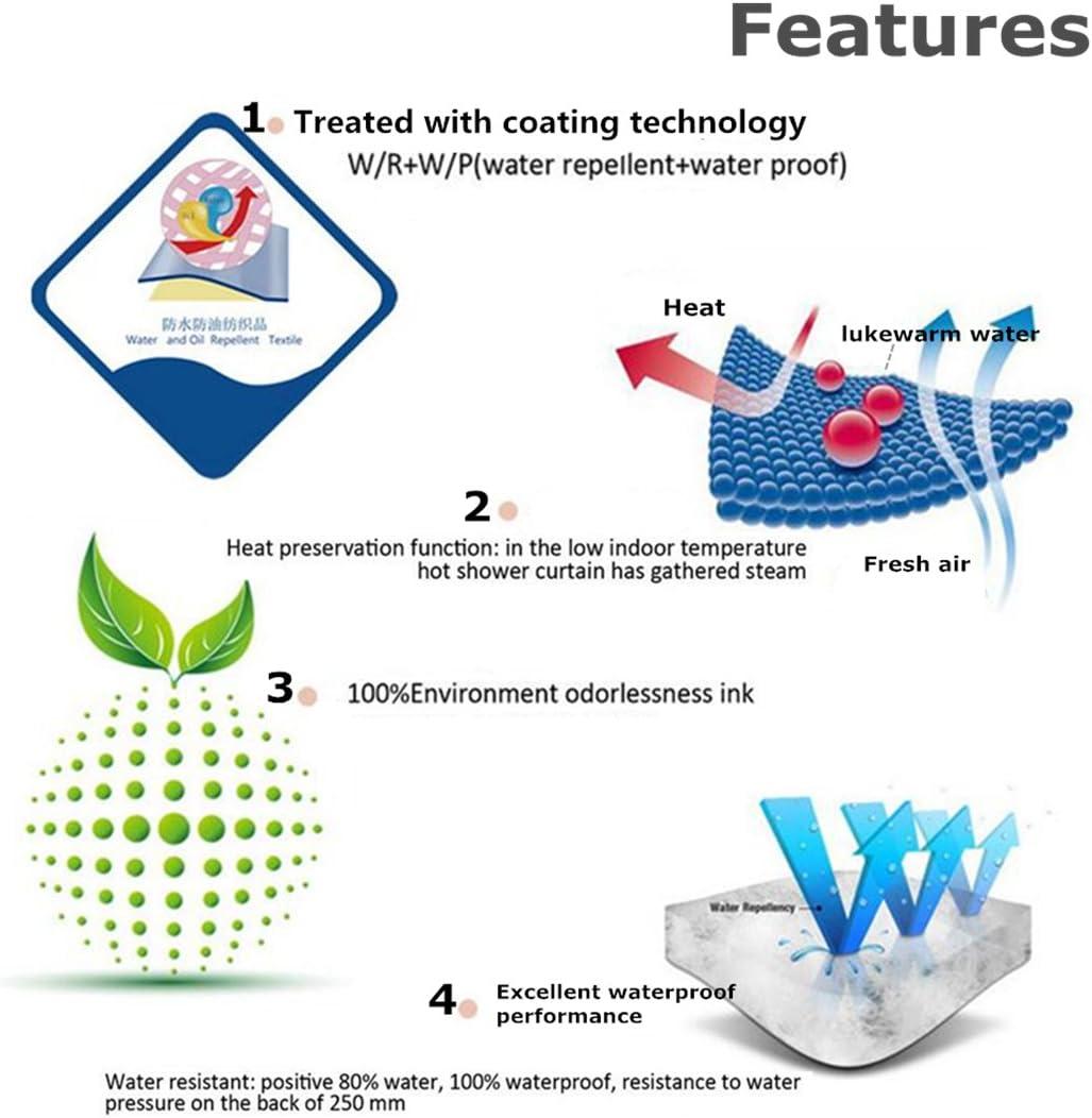 Moderne 3D Stampato Poliestere Resistente Tessuto Lavabile Tenda della Vasca da Bagno con 12 Ganci Cane,90x180cm Fansu Tende da Doccia Antimuffa Impermeabile