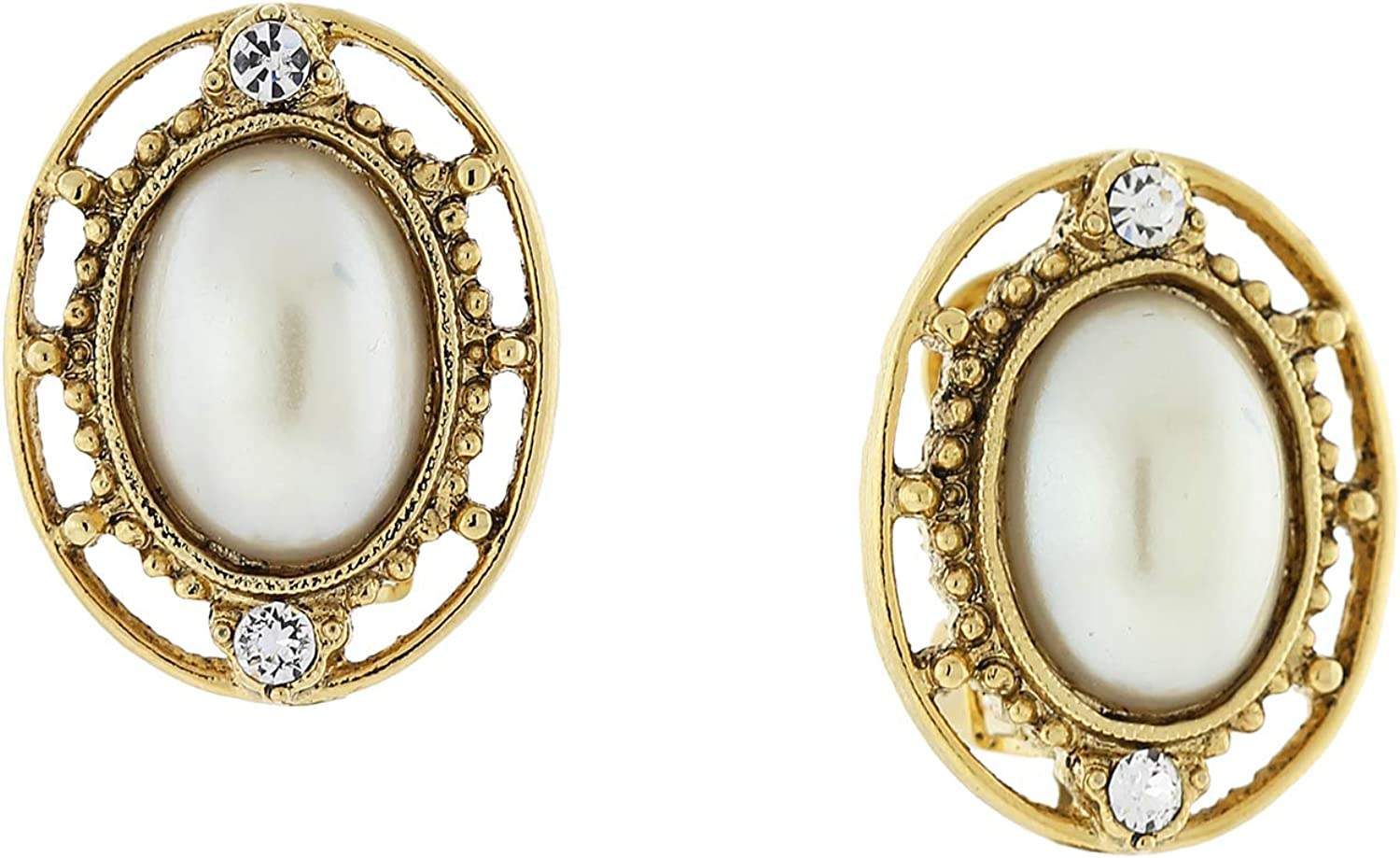 1928 Jewelry 14K Gold Dipped Costume Pearl And Crystal Accent Oval Button Clip On Earrings (White)