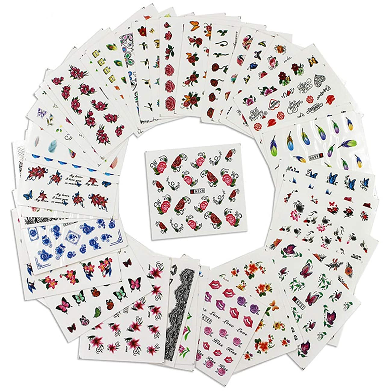 送る安全性脊椎Poonikuu3Dネイルアクセサリー DIYネイルデカール ウォーターマークのステッカー 貼るだけネイルシール 女性レディース 綺麗流行安全シンプル 50枚セット