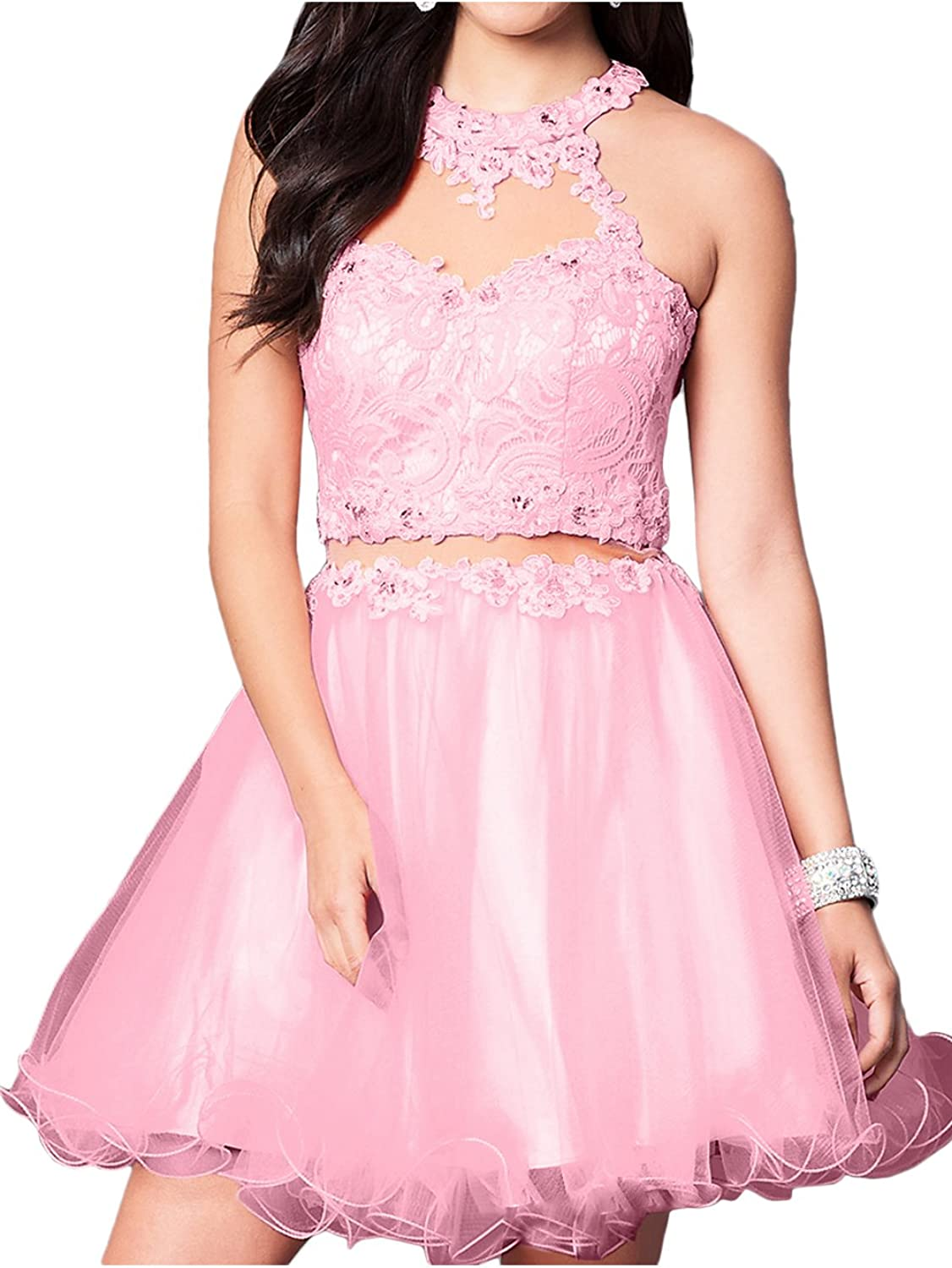 MILANO BRIDE Short Homecoming Dress Ball Gown Lace Back Keyhole Tulle Sweet 16 Dress