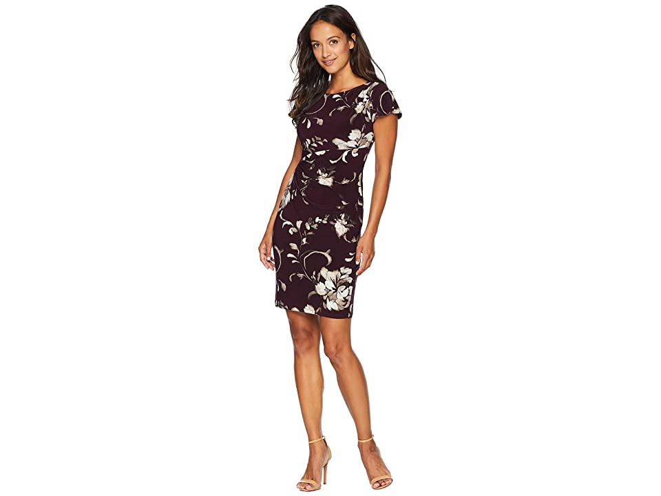 LAUREN Ralph Lauren Petite Chelsea Floral Rigley Dress (Passion Plum/Grey Multi) Women