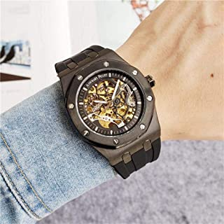 CMXUHUI Stile, Squisito, Una buona s Guarda Gli Uomini Skeleton Automatic Mechanical Watch Gold Skeleton Retro Men's Uomo ...