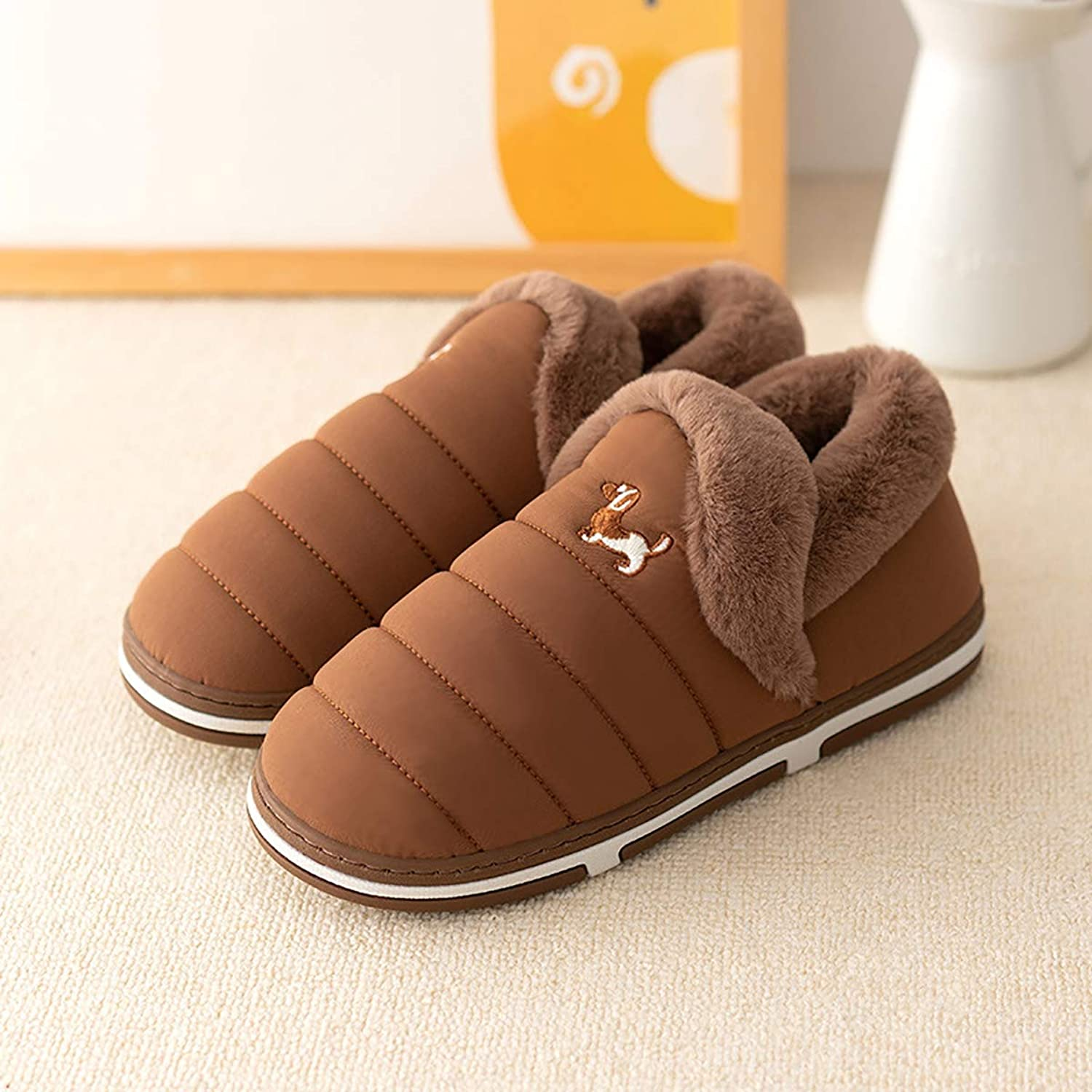 Plush Slippers with All-Inclusive Heel Indoor Warm Non-Slip TPR Cotton shoes Washable Home Waterproof shoes for Men and Women,Brown,42 43
