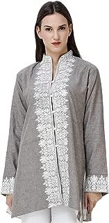 Exotic India Paloma-Gray Short Kashmiri Jacket with Floral Embroidery