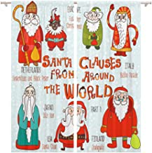 Tinmun 104 x 63 Inch Decorative Drapes Christmas Santa Clauses from Around The World Part Claus 2 Panels Window Curtains for Living Room Bedroom Printed