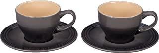 Le Creuset of America PG8000-057F Le Creuset Stoneware Set of 2 Cappuccino Cups and Saucers-Oyster, 7 oz