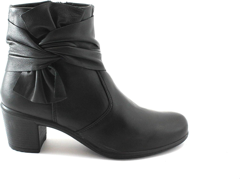 Enval Soft 2253200 schwarz Damenschuhe Stiefeletten Reißverschluss Ferse Leder    7d0405