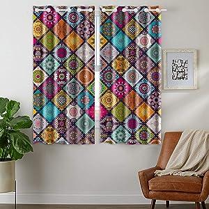 HommomH 24 x 36 inch Curtains (2 Panel) Grommet Top Darkening Blackout Room Mandala Design