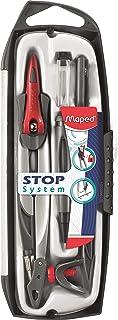 Maped - Coffret Compas Maped Stop System 5 pièces - Système de Verrouillage Breveté - Tracé Parfait - Avec Sécurité Protèg...