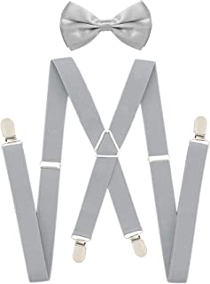 light grey suspenders and bow tie