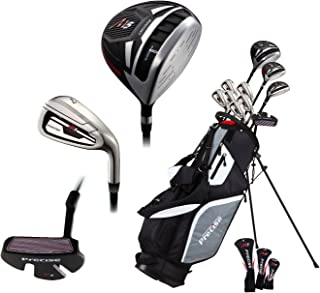 PreciseGolf Co. 14 Piece Men's All Graphite Complete Golf Clubs Package Set Titanium Driver, Fairway, Hybrid, S.S. 5-PW Irons, Putter, Stand Bag - Choose Right or Left Hand!