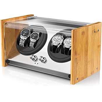 Watch Winder Box 4 for Automatic Watches or Rolex Couple Size, Craftsmanship 100% Bamboo Wood Patent Housing Case, AC or Battery Powered Super Quiet Japanese Motor by Watch Winder Smith