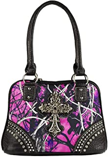 Rhinestone Camo Purse with Cross
