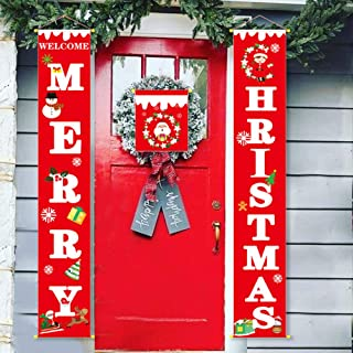 3Pcs Christmas Decorations Outdoor Interior - MERRY HRISTMAS Porch Sign - Santa Snowman Wreath Pattern Banner Sign - Home Wall Door Apartment Front Door Party Hanging Decoration (Red) Gift Glue Hook