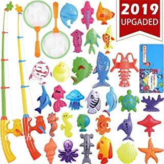 CozyBomB Magnetic Fishing Toys Game Set for Kids Water Table Bathtub Kiddie Pool Party with Pole Rod Net, Plastic Floating Fish-Toddler Learning Color Ocean Sea Animals Age 3 4 5 6 Year Old