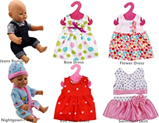 XADP 6 Sets Doll Clothes Outfits Dresses Clothing for 14 Inch to 16 Inch New Born Baby Dolls, Bitty Baby Dolls and 18 Inch American Girl Doll