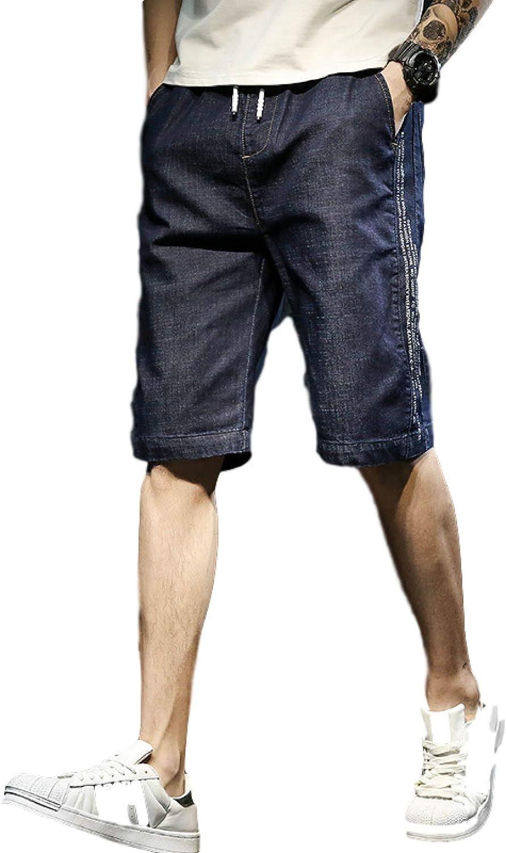 Huntrly Men's Denim Shorts Summer Fashion Trendy Plus Size Drawstring Elastic Waist