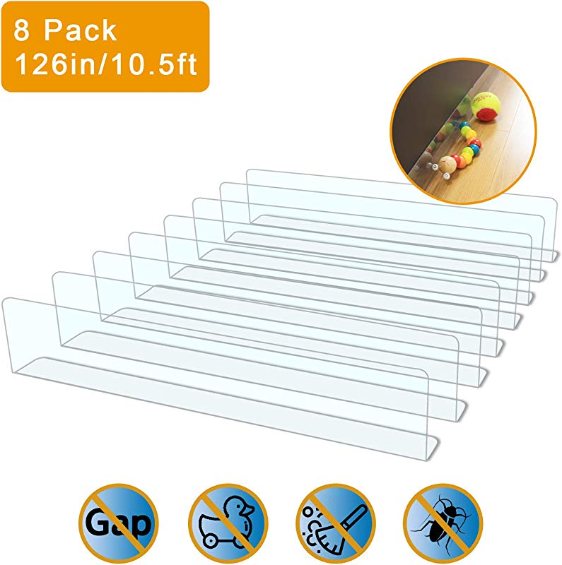 UPSTONE 8 Pack Toy Blocker Gap Bumper For Under Furniture BPA Free Safe PVC With Strong Adhesive Stop Things Going Under Sofa Couch Or Bed Easy To Install 8 Pack