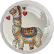 AITAI Leuke Etnische Exotische Alpaca Llama Ronde Kabinet Knop 4 Pack Trekt Handvatten
