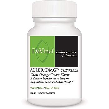 DaVinci Laboratories – Aller-DMG Chewable, Histamine Blocker with Quercetin and Bromelain, 120 CT Orange Cream Flavor, Gluten-Free, Vegetarian