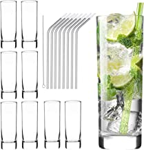 Glass Cups 10 oz, Clear Highball Glass Cocktail Glass Drinking Glasses [Set of 8] + 8 Stainless Steel Straws For Kitchen,H...