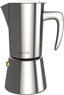 bonVIVO Intenca Stovetop Espresso Maker, Italian Espresso Coffee Maker, Stainless Steel Espresso Maker Machine For Full Bodied Coffee, Espresso Pot For 5-6 Cups, 11.8oz Moka Pot SILVER Chrome Finish