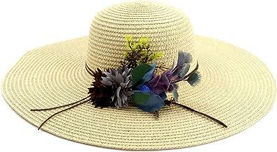 2019 Women Womens Beautiful Summer Sun Hat Woman Straw Hat for Women Sun Beach Hat Floral Elegant Hat Wide Side Seaside Drive The Wind and Rain Mesh Sunscreen (Color : Khaki, Size : 56-58CM)