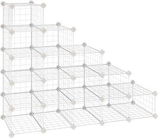 SONGMICS Estantería de Zapato, Unidad Modular de Almacenamiento de Bricolaje con 15 cubos, Organizador de Calzado con Cierre de Alambre Metálico, para Entrada, Vestíbulo, Blanco LPI44WS