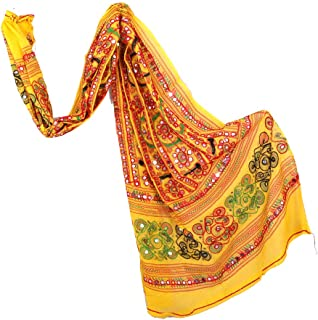 Traditional Kutch Embroidered Full Work Dupatta,Bohemian Dupatta,Banjara Style Women's Mirror Work Dupatta,Beautiful Cotton Dupatta