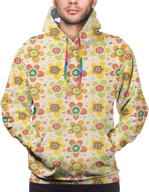 Men's Hoodies Sweatshirts,Flowers Meadow and Cloudy Sky Nature Landscape Print Vivid Sun Springtime Artistic